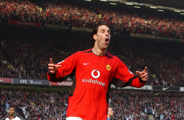 Ruud van Nistelrooy celebrates scoring his second goal of the game Manchester United v Fulham, Old Trafford, Manchester, 22/03/2003, Barclaycard Premiership