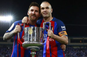 Barcelona duo Lionel Messi and Andres Iniesta