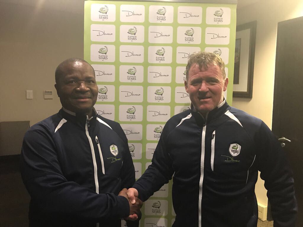 Platinum Stars new coach Peter Butler and chairman Cliff Ramoroa