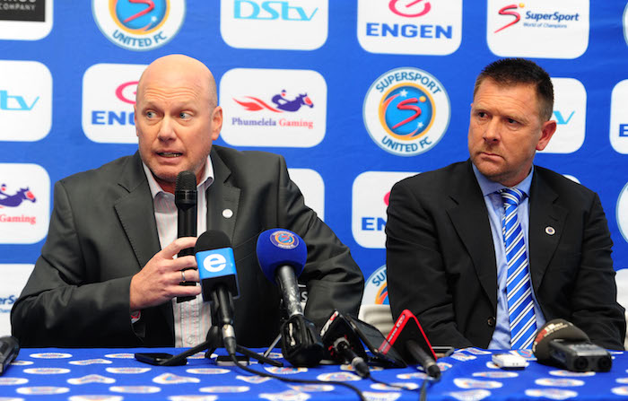 SuperSport United coach Eric Tinkler and Stan Matthews