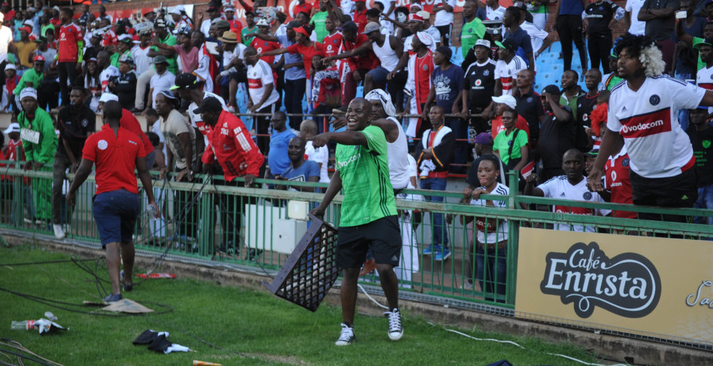 Pirates fans react in anger during their clash against Sundowns