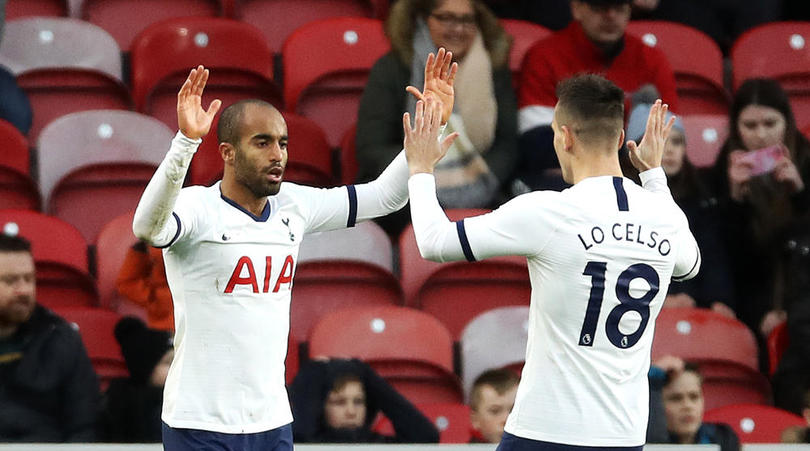 Tottenham Hotspur's Lucas Moura and Giovani Lo Celso d