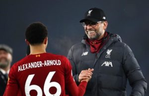 Liverpool manager Jurgen Klopp celebrates victory with Trent Alexander-Arnold after the Premier League match at the King Power Stadium, Leicester.