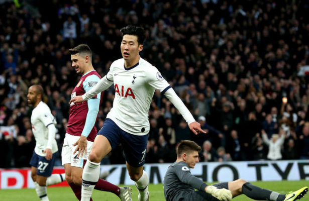 Tottenham Hotspur's Son Heung-min celebrates scoring his side's third goal of the game during the Premier League match at the Tottenham Hotspur Stadium, London.