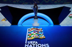 A general view of the trophy during the UEFA Nations League 2020/21 draw at the Beurs van Berlage Conference Centre, Amsterdam.