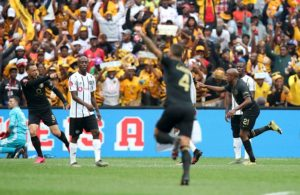 Lebogang Manyama of Kaizer Chiefs celebrates goal during the Absa Premiership 2019/20 match between Orlando Pirates and Kaizer Chiefs