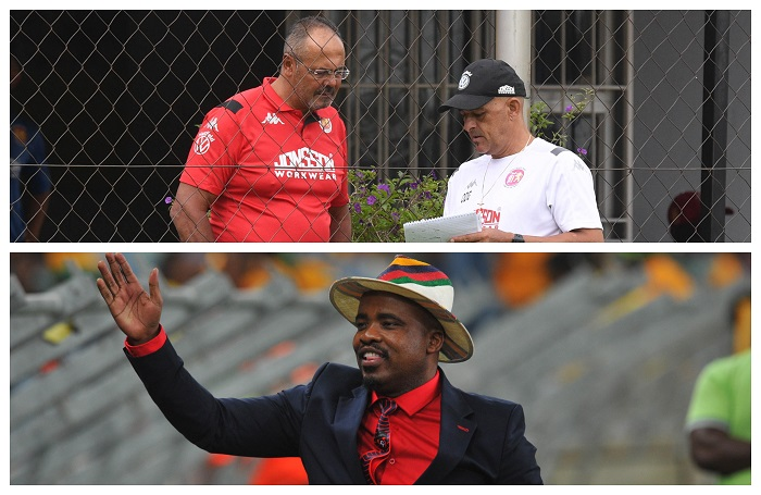 Top: Owen Da Gama coach of Highlands Park with former owner Larry Brookestone Bottom: Tim Sukazi, owner of TS Galaxy