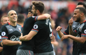 Southampton celebrating their win against Middlesbrough